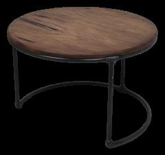 Table d'appoint - ø70 cm - métal / bois java recyclé
