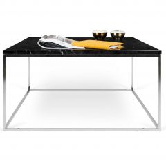 Table basse Gleam 75x75 - marbre noir/chrome