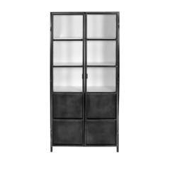 Armoire vitrée Bronx 90cm - gris/blanc