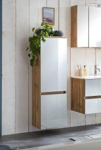 Colonne Helina 40cm 2 portes - chêne/blanc