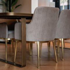 Chaise de salle à manger Breeze velours - kaki/or