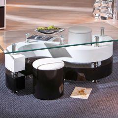 Table basse Saphira 2 poufs - noir et blanc