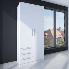 Armoire Ramos 80cm avec 2 portes & 3 tiroirs - blanc