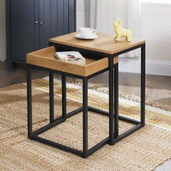 Set de 2 tables d'appoint Hanne 45x40 - manguier/noir
