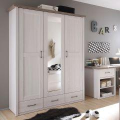 Armoire à vêtements 148cm avec miroir & 3 portes - blanc