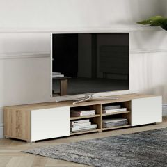 Meuble TV Podium 185 cm - chêne/blanc