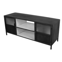 Meuble tv Bronx 130cm à 2 portes - gris foncé/blanc
