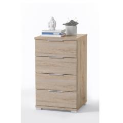 Table de chevet Nacho 46cm avec 4 tiroirs - chêne san remo