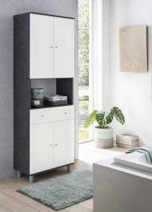 Armoire salle de bains Andrew 1 tiroir & 4 portes - blanc/gris graphite
