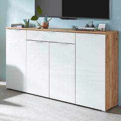 Bahut Tille 179 cm avec 4 portes & 1 tiroir - blanc/chêne