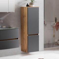 Colonne Kornel 40cm 2 portes - chêne/gris mat