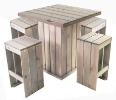 Table de bar Toulouse + 4 chaises de bar – gris clair