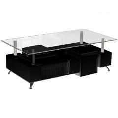 Table basse Shawn avec 2 poufs - verre/noir