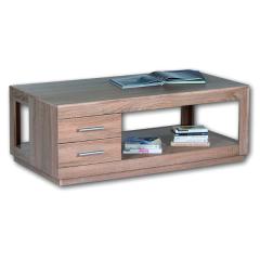 Table basse Torben 120cm avec 2 tiroirs - chêne