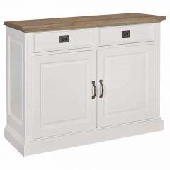 Bahut Oakdale 130cm 2 portes & 2 tiroirs - blanc/chêne