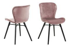 Set de 2 chaises en velours Tilda avec pieds obliques - vieux rose/noir