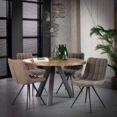 Table à manger Kate ø120cm industriel - clair