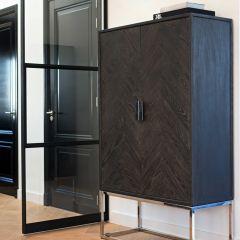 Présentoir Bony 108cm 2 portes - noir/argent