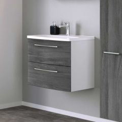 Meuble lavabo Gene 60cm 2 tiroirs - blanc/chêne gris