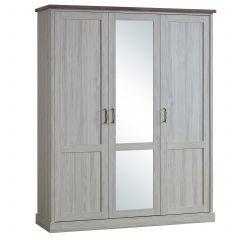 Armoire Emily 172cm avec 3 portes & miroir - chêne gris