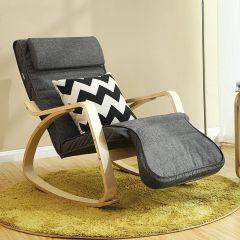 Chaise à bascule Torvi - gris foncé/bouleau