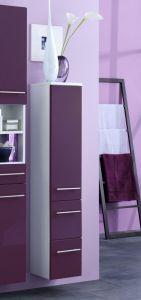 Colonne salle de bains Small 25cm 1 porte & 2 tiroirs - violet brillant