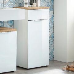 Armoire de salle de bains Sepp avec 1 porte & 1 tiroir - blanc