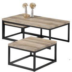 Lot de 3 tables d'appoint Jenna industriel - chêne vieilli