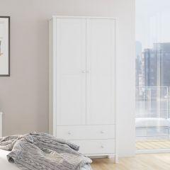Garde-robe Tarik 89cm campagne à 2 portes & 2 tiroirs - blanc