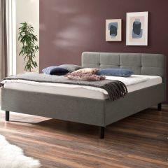 Lit Azis 140x200 avec pieds en bois massif - gris/graphite