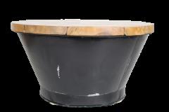 Table basse Seau - résine noire - teck / fer