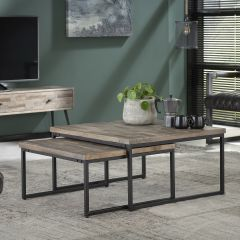 Set de 2 tables basses Teca 75x75 industriel - teck