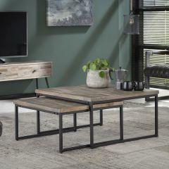 Set de 2 tables basses Teca 75x75