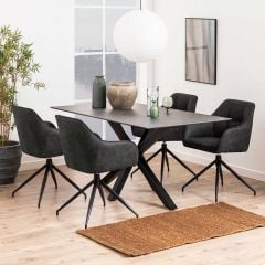 Table à manger Hennie 160x90 céramique - noir