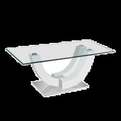 Table basse Navarro avec plateau en verre - blanc brillant