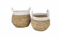 Set de paniers - naturel / blanc - raphia - ensemble de 2