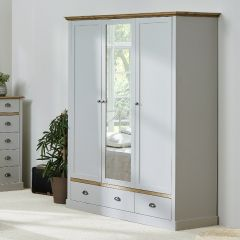 Garde-robe Silia 148cm avec 3 portes & 2 tiroirs - gris/naturel