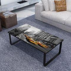 Table basse New York 105x55 métal & verre - noir