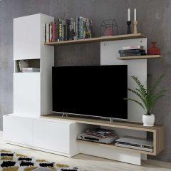 Meuble tv Boris 200cm - blanc/brun
