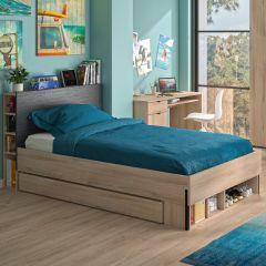 Tiroir de lit avec niches pour lit de 120 Castle - chêne/noir
