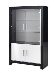 Vitrine Modena 4 portes - blanc/noir