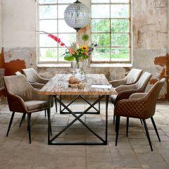 Table à manger Kensington 240x100 industrielle - brun/noir
