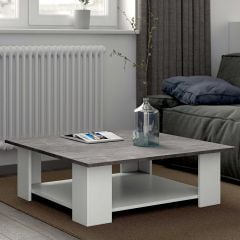 Table basse Square 67x67 - blanc/béton