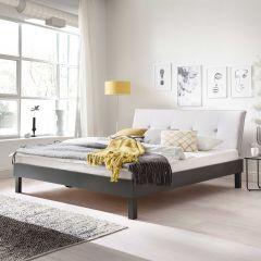 Lit double Bastos 180x200 avec pieds anguleux - beige/gris