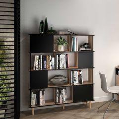 Bibliothèque Nosk 120cm à 4 portes - noir/chêne