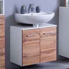 Meuble sous lavabo Pares 60cm 2 tiroirs - blanc/chêne wotan