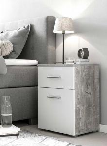 Table de chevet Bedside 1 tiroir & 1 porte - blanc / béton