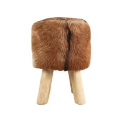 Tabouret Bangku ø33cm rond  - peau de chèvre/teck