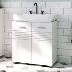 Meuble sous lavabo Bernice 60cm à 2 portes - blanc