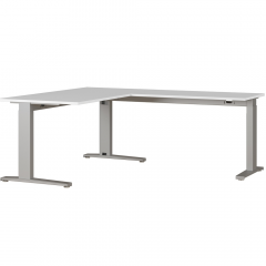 Bureau d'angle Aggo 160x193 réglable en hauteur - gris clair/argent